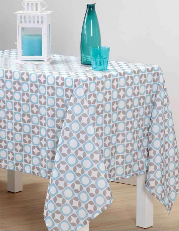 Nappe SUOMI 140X250CM Couleur Bleu/Gris