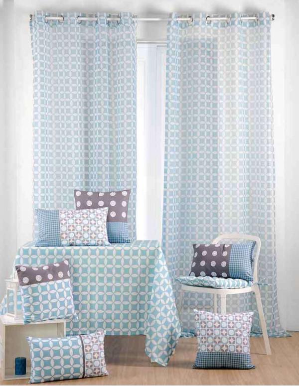 rideau voile suomi 135x260cm couleur bleu casa square. Black Bedroom Furniture Sets. Home Design Ideas