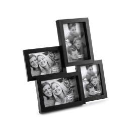 Cadre photo à 4 fenêtres noir