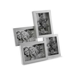 Cadre photo à 4 fenêtres argenté