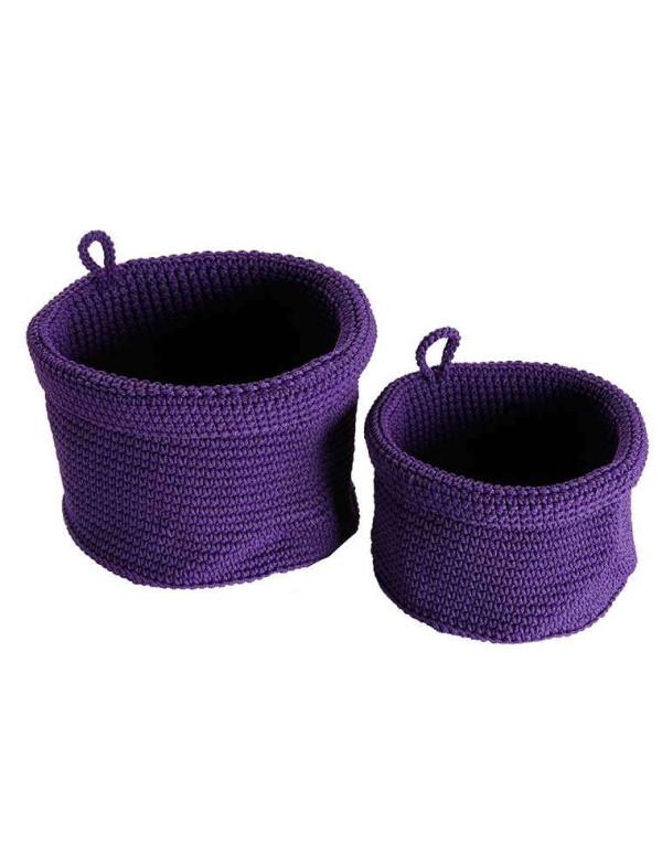 Set de 2 paniers ronds violets