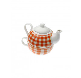 Set de théière orange en porcelaine
