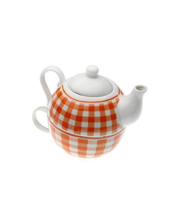 Set de théière orange en porcelaine