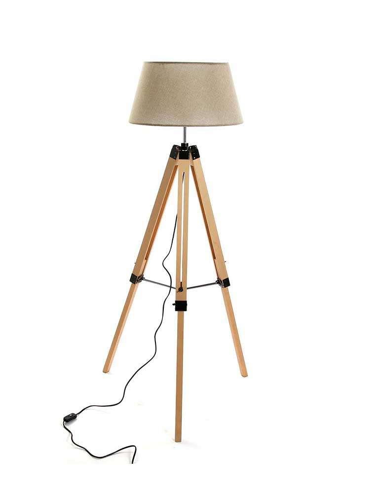 lampadaire sur tr pied esprit industriel pied en bois abat jour noir. Black Bedroom Furniture Sets. Home Design Ideas