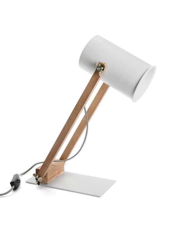 Lampe de table blanche en métal sur pieds en bois