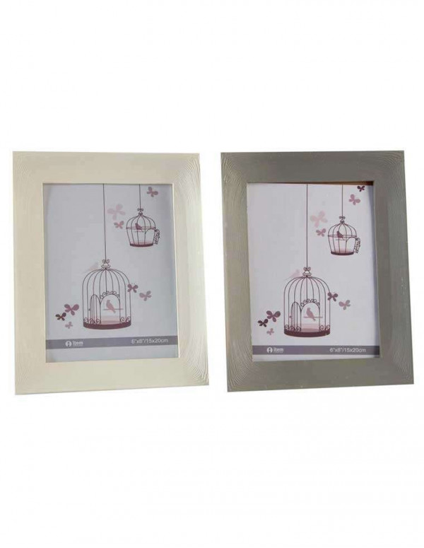 Set de 2 cadres photos effet bois 15x20 cm