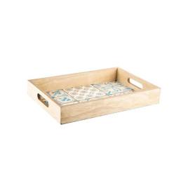 Plateau en bois à tuile bleue 33x22 cm