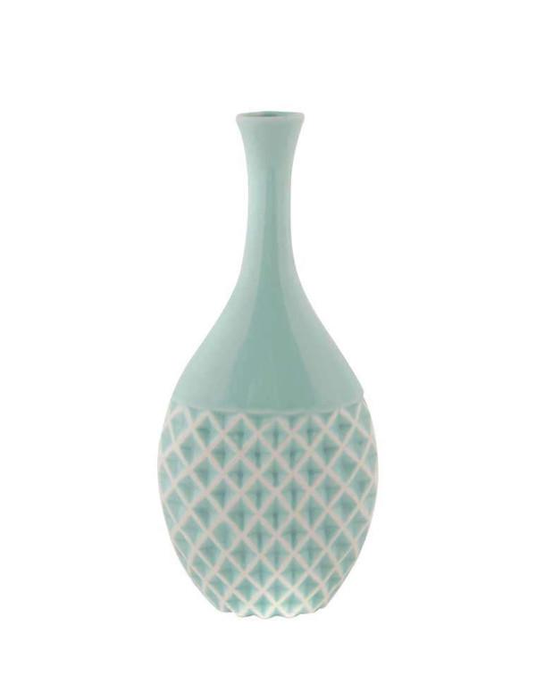Vase bleu en porcelaine avec relief H:26,5 cm