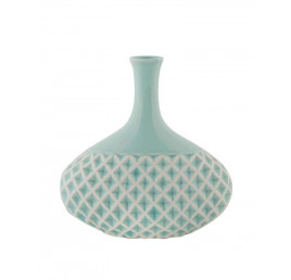 Vase bleu en porcelaine avec relief H:18 cm