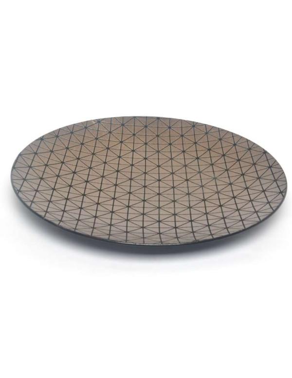 Plat rond bronze design GÉOMÉTRIK en résine 40 cm