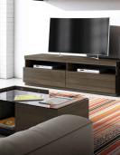 Meuble TV graphite/chêne 180cm