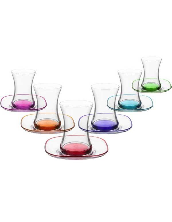 Set de 12 verres de thé ZEN coloré au fond