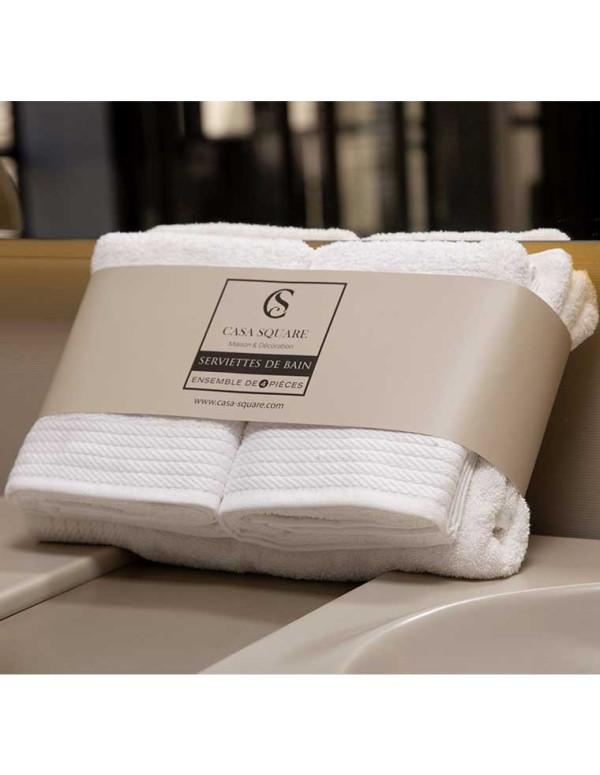 Set de 4 serviettes de bain blanc