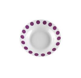Set 6 assiettes creuses violet en porcelaine