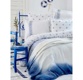 Set de lit MARINO bleu double 100% coton