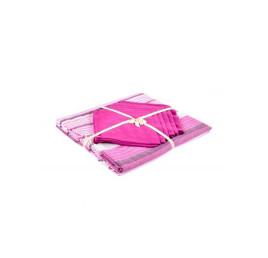 Nappe en coton 150x225cm avec 6 serviettes rose fushia