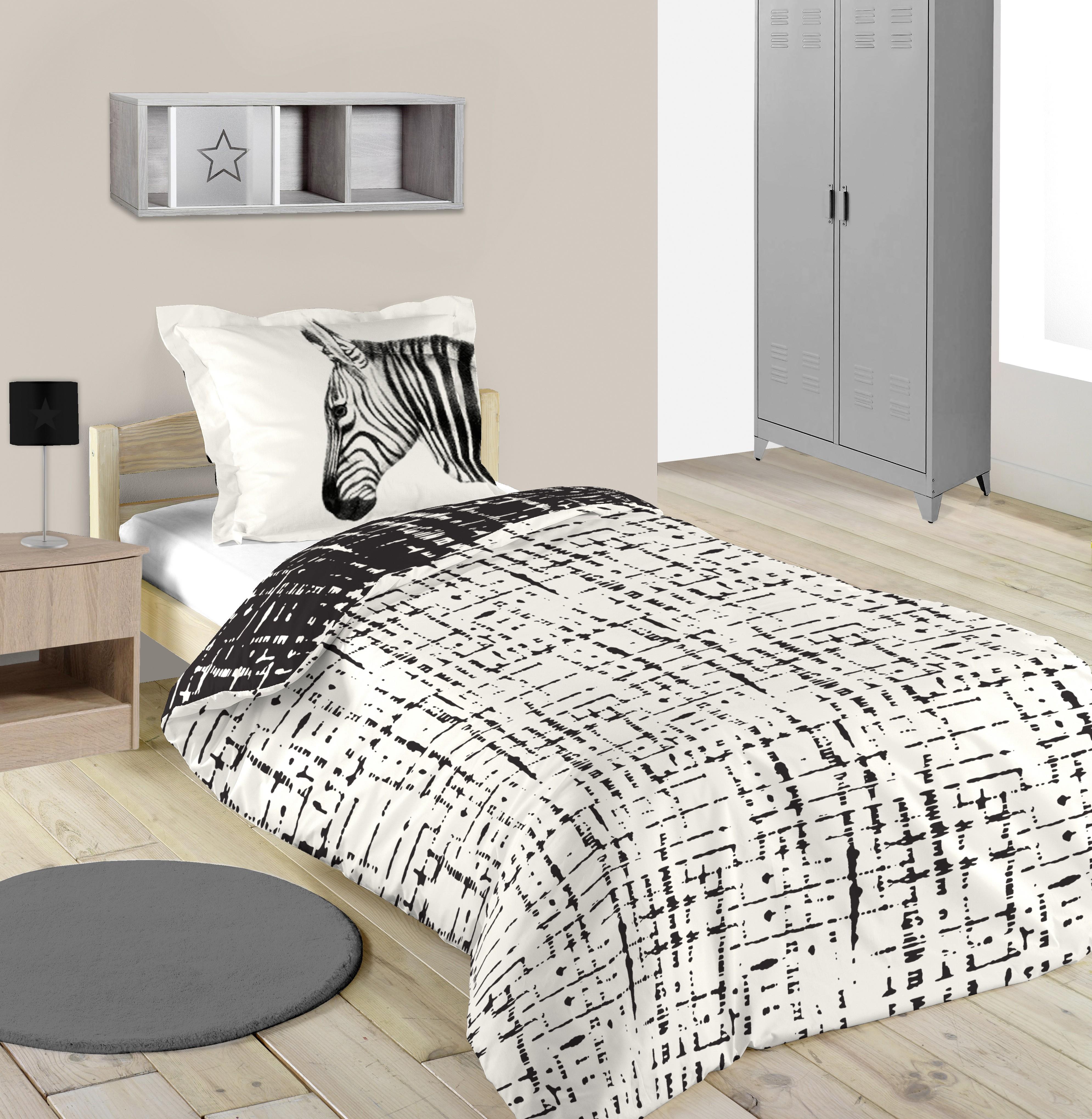 housse de couette coton single zebral x cm with housse de couette tunisie. Black Bedroom Furniture Sets. Home Design Ideas