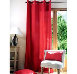 Rideau DUO 135 x 250 cm rouge et lin