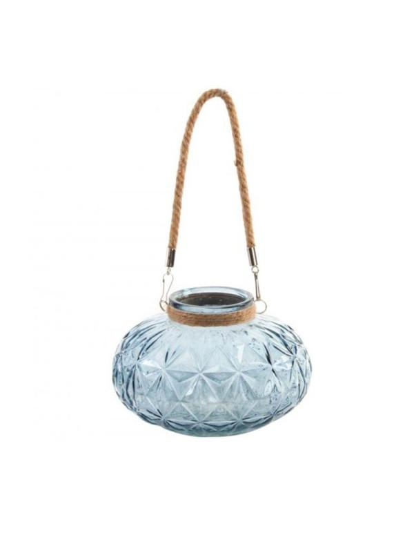Bougeoir bleu en verre coloré avec corde 20x12 cm