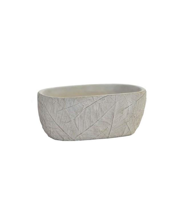 Jardinière ovale gris foncé en ciment 21 x 11,5 x 8,5 cm