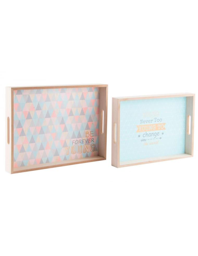 set de 2 plateaux en bois forever young 40 x 30 cm casa square. Black Bedroom Furniture Sets. Home Design Ideas