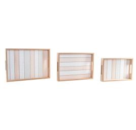 Set de 3 plateaux ETHNIQUE en bois 38x27 cm