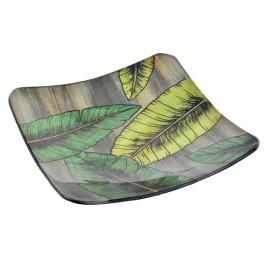 Plat TROPICAL LEAVES en verre 20 x 20 cm
