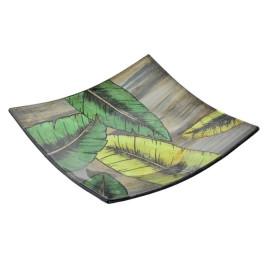 Plat carré TROPICAL LEAVES en verre 16 x 15,5 cm