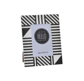 Cadre photo HELLO à rayures diagonales noir et blanc 10x15 cm