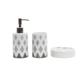 Set accessoires salle de bain 3 pièces en porcelaine