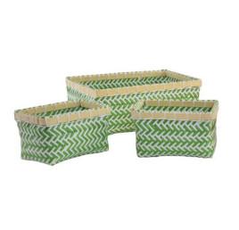 Set de 3 corbeilles en bambou vert
