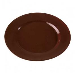 Set de 6 assiettes plate TRUFFAUT marron en porcelaine