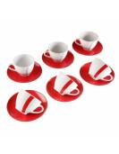 Set de 6 tasses à café blanc et rouge