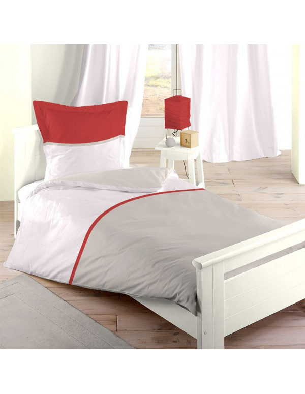 Housse de Couette rouge BICOLOR single 140 x 200 cm
