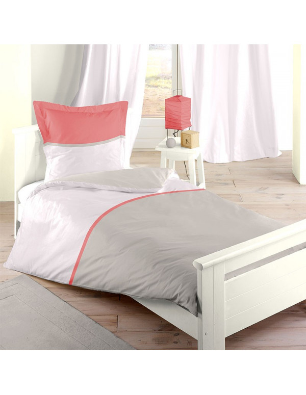 Housse de Couette corail BICOLOR single 140 x 200 cm