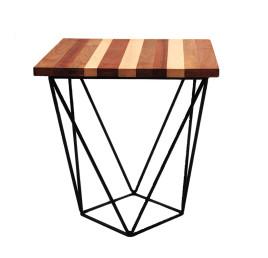 Table Basse carrée PYRAMIDALE en bois et métal noir