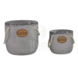 Set de 2 supports pot de fleurs gris GARDEN avec corde 17x16 cm