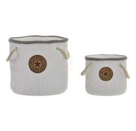 Set de 2 supports pot de fleurs blanc HOME avec corde 17,5x16 cm