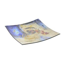 Plat carré ABSTRAIT en verre 24x24x3 cm