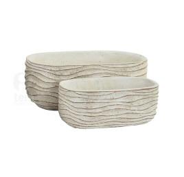 Set de 2 jardinières ovales blanc à rayures en ciment 24x13x9 cm