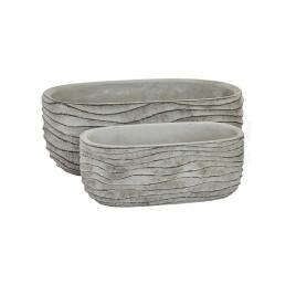 Set de 2 jardinières ovales gris à rayures en ciment 24x13x9 cm
