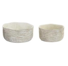 Set de 2 supports pot de fleurs blanc en ciment effet vieilli 21x10 cm