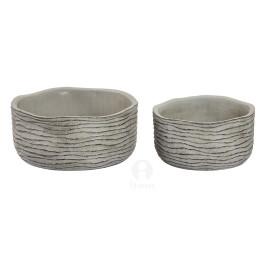 Set de 2 supports pot de fleurs gris en ciment effet vieilli 21x10 cm