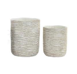 Set de 2 supports pot de fleurs blanc en ciment effet vieilli 17x21 cm