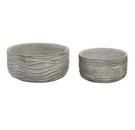 Set de 2 supports pot de fleurs gris à rayures en ciment 20x10 cm