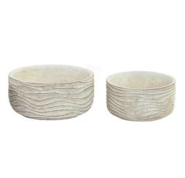 Set de 2 supports pot de fleurs blanc à rayures en ciment 20x10 cm