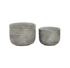 Set de 2 supports pot de fleurs gris à rayures en ciment 17x14 cm