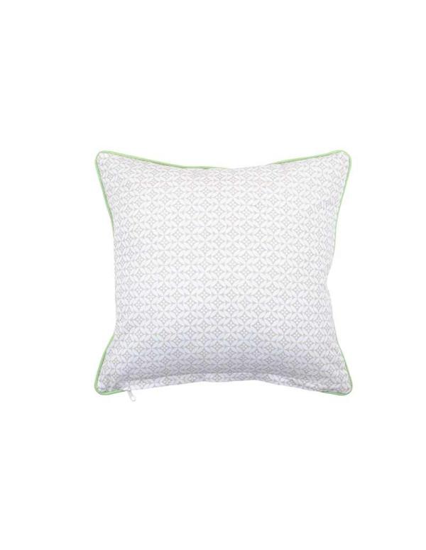 Coussin GEOK coton avec taies BICOLORE lin/vert 40 x 40cm