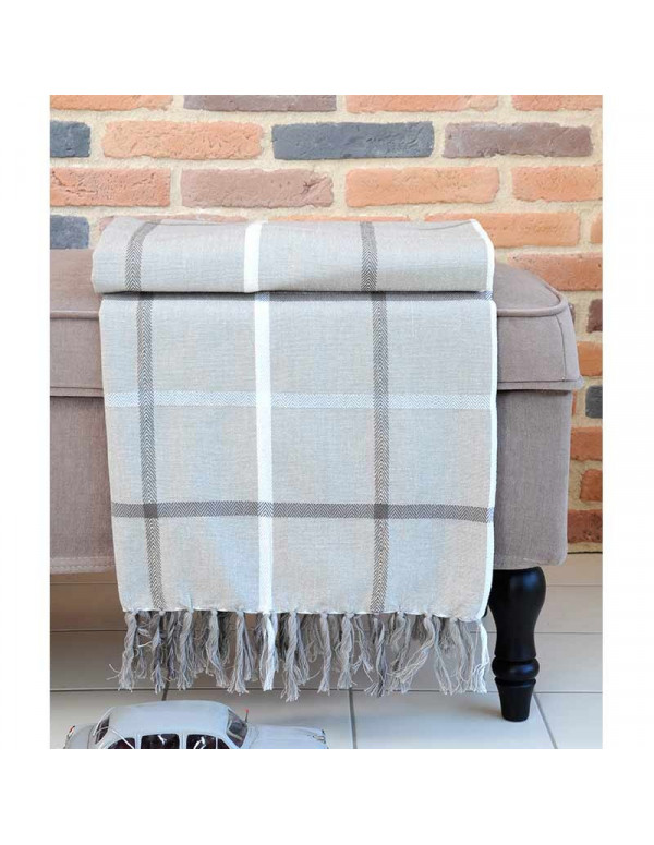 Plaid PURPY taupe en coton 130 x 150 cm