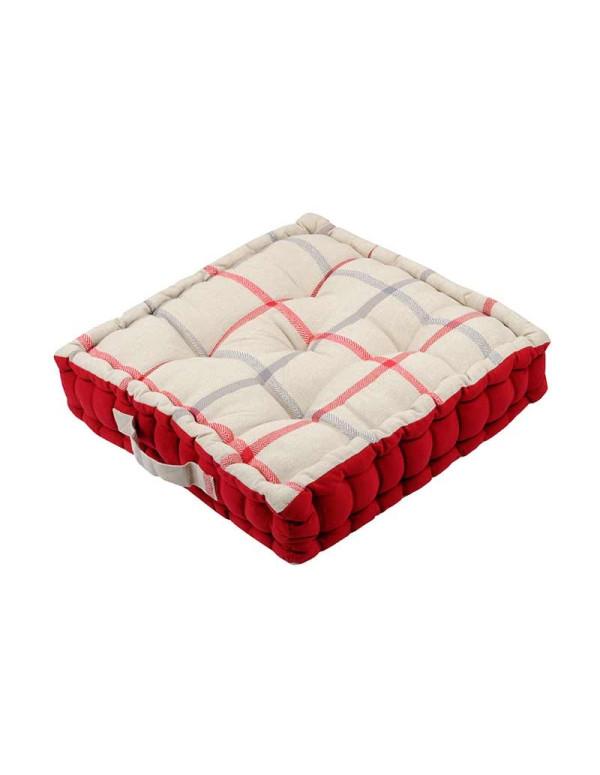 Coussin de sol PURPY rouge en coton 45 x 45 x 10 cm